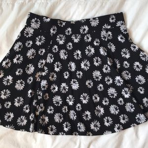 Divided black w pop art daisies circle mini skirt
